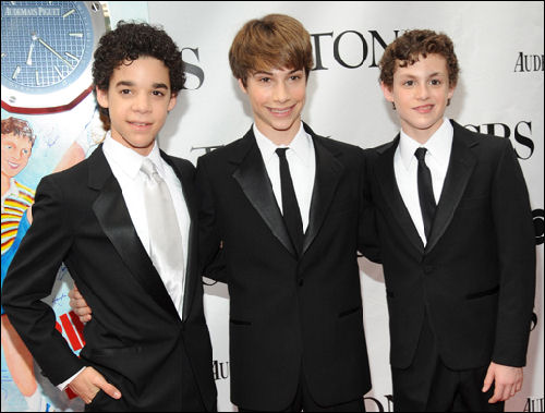 Broadway Billys David Alvarez, Kiril Kulish and Trent Kowalik at the 2009 Tony Awards at which they jointly won the Best Actor in a Musical Award