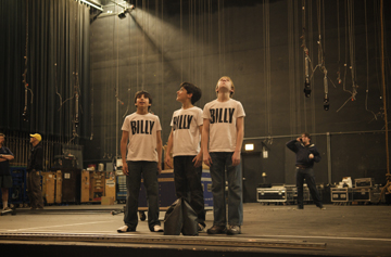 Chicago Billys on the Stage of the Oriental Theatre (l-r Cesar Corrales, Giuseppe Bausilio and Tommy Batchelor)