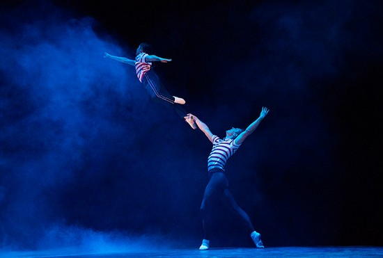 Billy (Noah Parets) and Older Billy (Stephen Hanna) Dance in Dream Ballet