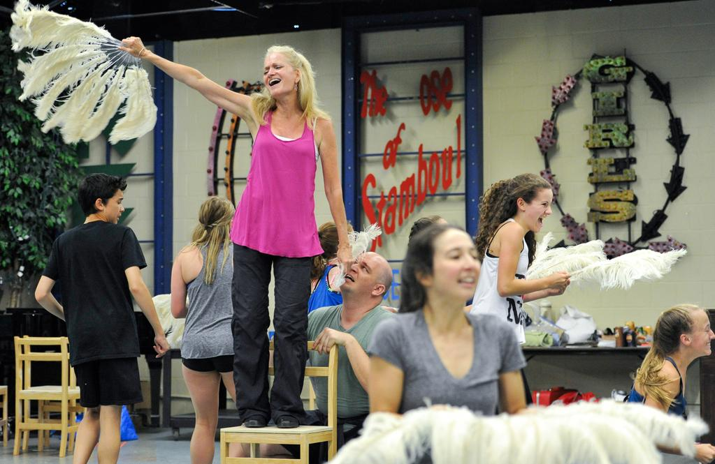 In Rehearsal at the NSMT:  Nicholas Dantes (Billy), Janet Dickinson (Mrs. Wilkinson), Danny Rutigliano (George) and the Ballet Girls