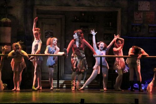 Vicki Lewis (Mrs. Wilkinson) and the Ballet Girls