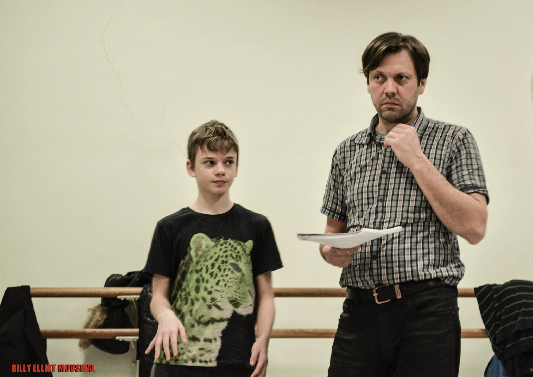 Kaspar Kiisk (Billy) and Mait Malmsten (Dad) in Rehearsal before Opening Night