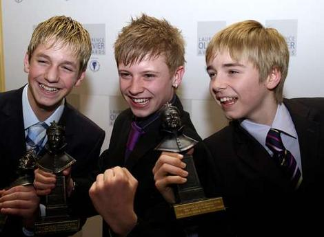 Original London Billys win a joint 2006 Olivier Award for Best Actor in a Musical (l-r: James Lomas, George Maguire and Liam Mower)