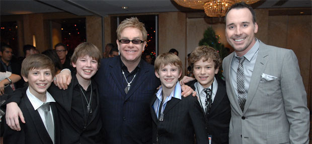 Opening night in Sydney, Australia. Left to right Rhys Kosakowski, Nick Twiney, Elton John, Lochlan Denholm, Rarmian Newton, David Furnish.