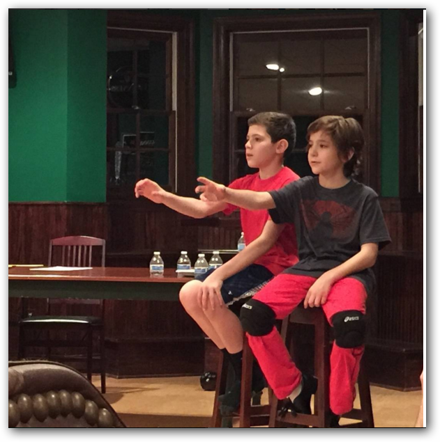 "Hexagon Players Production (Menham, NJ) James Ciccarelle (left) and Parker Fullmore (right) Rehearse ""The Letter"" Scene"