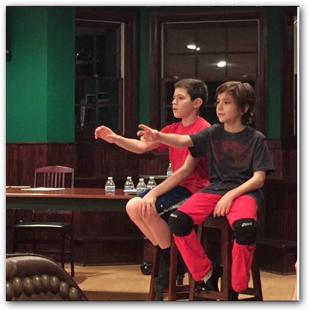 "Hexagon Players Production (Menham, NJ) James Ciccarelle (left) and Parker Fullmore (right) Rehearse ""The Letter"" Scene"