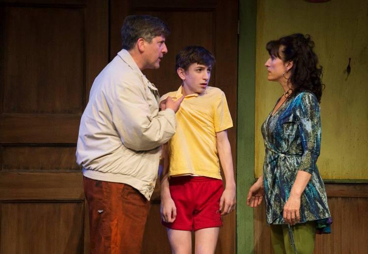 Warren Kimmel (Dad), Billy (Nolan Fahey) and Mrs Wilkinson (Caitriona Murphy)