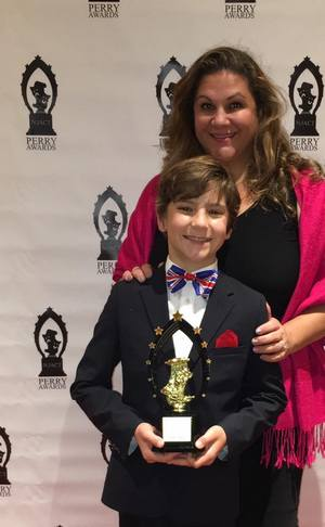"Parker Pictured at the Perry Awards Night with ""his biggest fan"" -- His Mom."