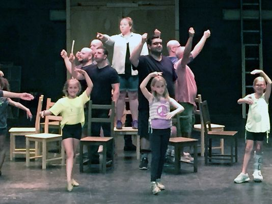 "Cast of BETM at the Fairfield Summer Theatre Rehearse ""Solidarity"""