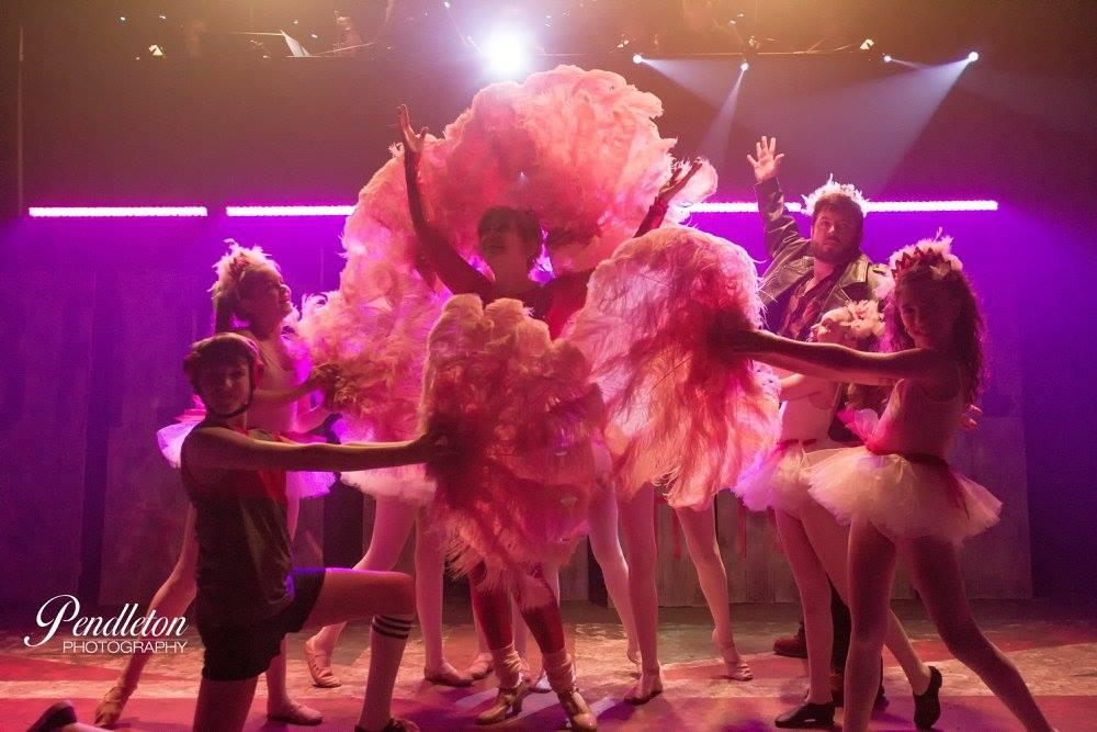 Billy (Westin Brown), Mrs. Wilkinson (Andi Allen), Mr. Braithwaite (Andrew Friedrich) and the Ballet Girls in Shine