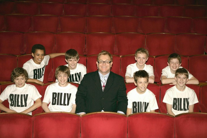 London & Australian Productions - The Australian Billys visited with their London Counterparts and met Elton John (1st Row l-r:
