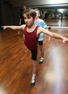 Ben practising his ballet at Billy Boot Camp