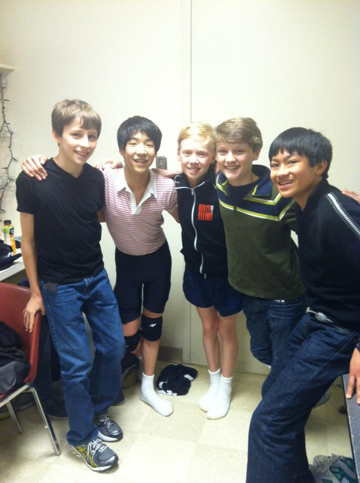 North American Tour Production (2010-2013) Tour Billys: (l-r Kylend Hetherington, Lex Ishimoto, Ty Forhan, Ben Cook, J.P. Viernes)