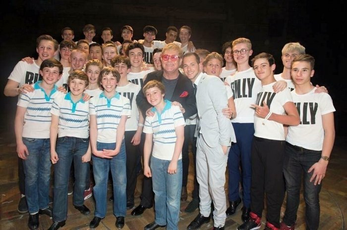 London Production (2005-2016) The Final Four West End Billys Pose With Other Past Billys on Closing Night (l-r front row: