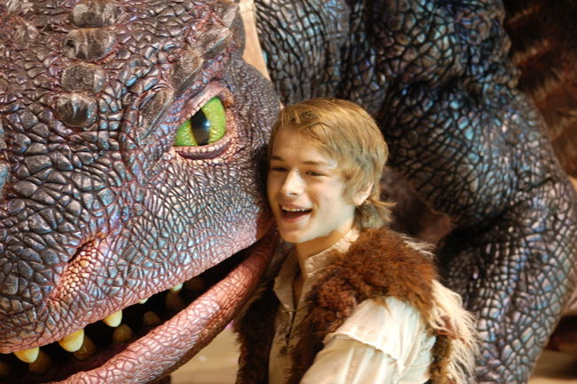 "Rarmian as 'Hiccup' poses with his dragon 'Toothless' in ""How to Train your Dragon"""