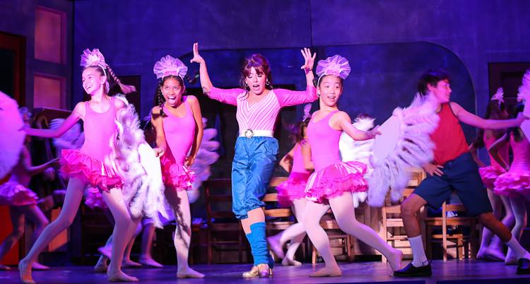 Mrs. Wilkinson (Ahyna Chang), Billy (Aaron Ostroff) and the Ballet Girls