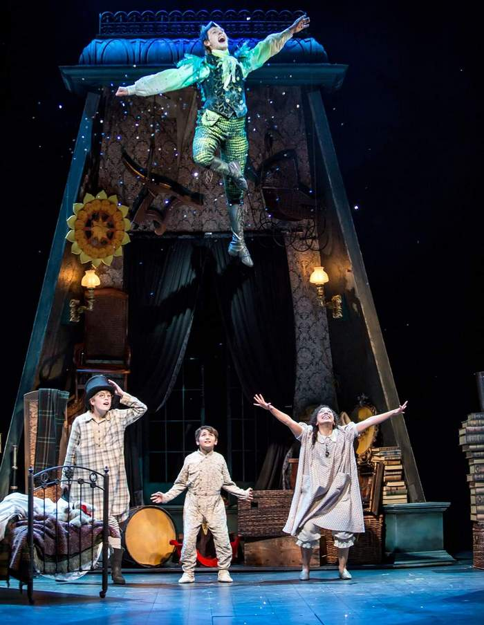 Gavin Nienaber (bottom, center) as Michael Darling in Peter Pan The Musical