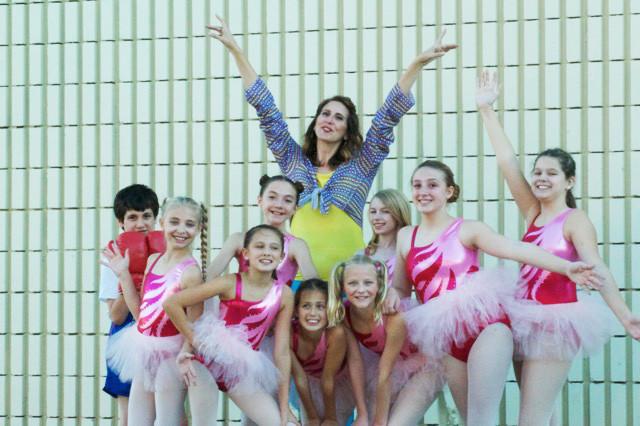 Billy (Gavin Nienaber), Mrs. Wilkinson (Meg Krekeler) and the Ballet Girls