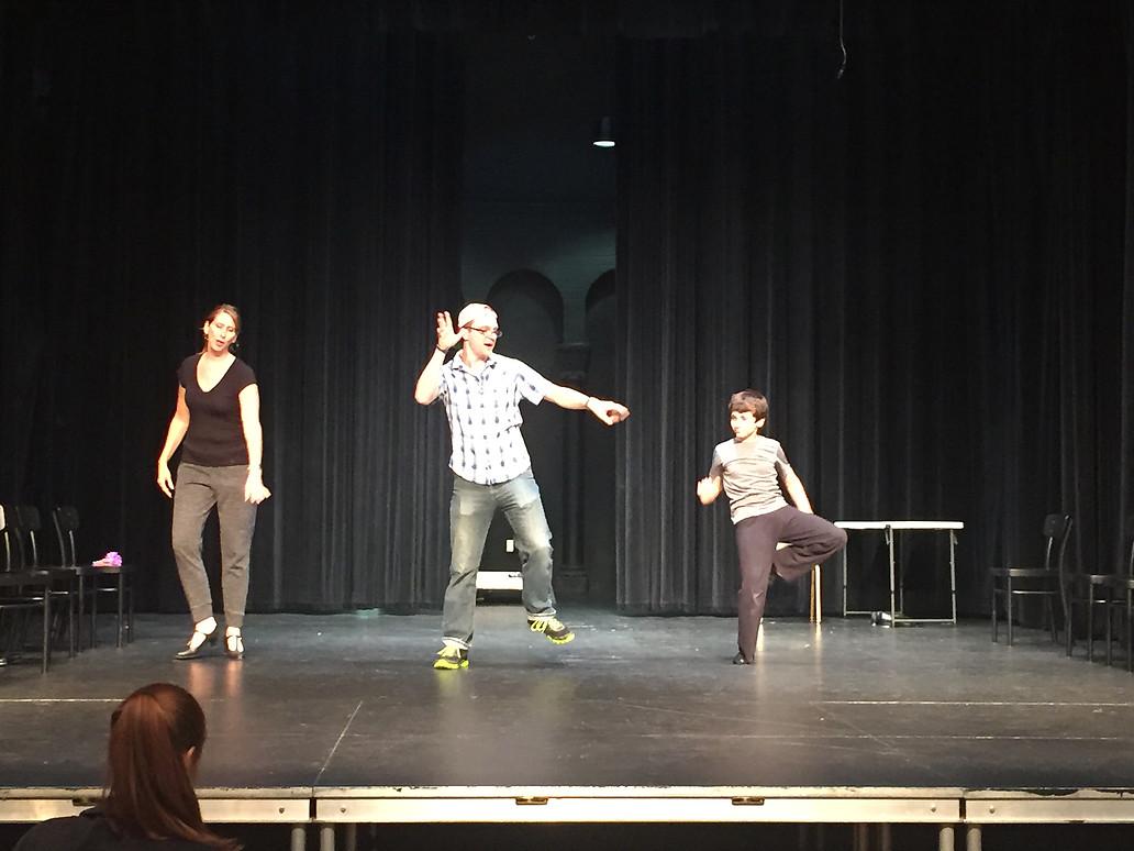 Mrs. Wilkinson (Meg Krekeler, Mr. Braithwaite (Jakob Gomez) and billy (Gavin Nienaber) Rehearse 'Born to Boogey'