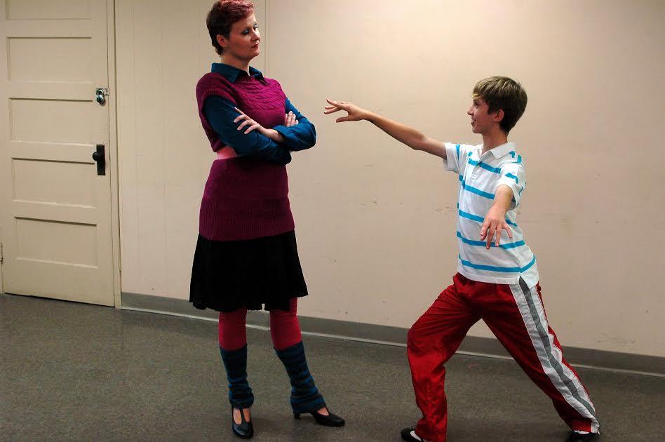 Mrs. Wilkinson (Jen Drake) Works With Billy (Peanut Edmonson) on His Ballet Technique