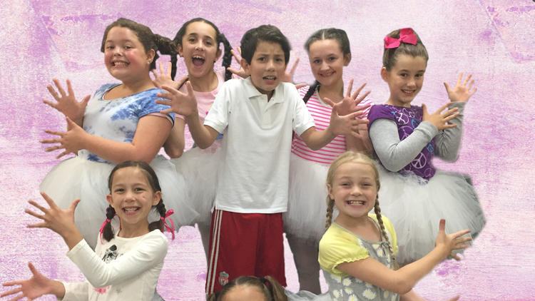 Asher Alcantara (Billy) and the Ballet Girls.